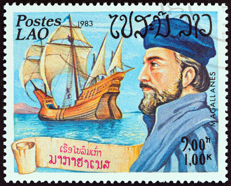 magellan: LAOS  CIRCA 1983: A stamp printed in Laos from the Explorers and their Ships  issue shows Magellan and Victoria circa 1983.