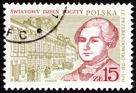 polska: POLAND  CIRCA 1987: A stamp printed in Poland from the World Post Day  issue shows Warsaw Post Office and Postmaster General Ignacy Franciszek Przebendowski circa 1987. Editorial