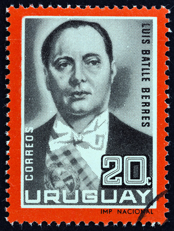 URUGUAY  CIRCA 1966: A stamp printed in Uruguay from the Former Uruguayan Presidents  issue shows Luis Batlle Berres circa 1966. Editorial