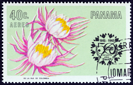 central chamber: PANAMA  CIRCA 1966: A stamp printed in Panama from the 50th anniversary of Junior Chamber of Commerce  Flowers  issue shows Selenicereus grandiflorus circa 1966.