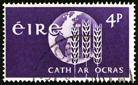 fight hunger: IRELAND  CIRCA 1963: A stamp printed in Ireland from the Freedom from Hunger  issue shows Campaign Emblem circa 1963.