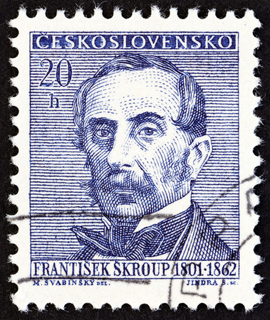 czechoslovakia: CZECHOSLOVAKIA  CIRCA 1962: A stamp printed in Czechoslovakia from the Cultural Celebrities and Anniversaries issue shows Frantisek Skroup composer and conductor circa 1962. Editorial