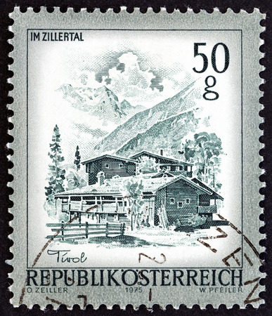 sello: AUSTRIA  CIRCA 1975: A stamp printed in Austria from the Views issue shows Mayerhofen Zillertal Tyrol circa 1975. Editorial