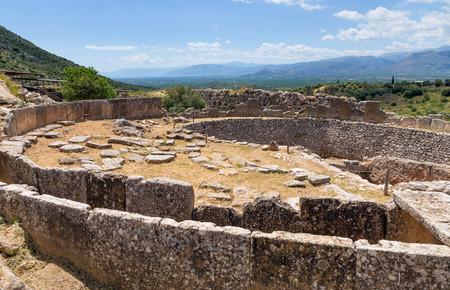 peloponnesus: Grave circle A in Mycenae Peloponnese Greece