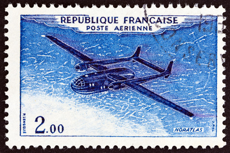 nord: FRANCE  CIRCA 1954: A stamp printed in France shows a Nord 2501 Noratlas airplane circa 1954.