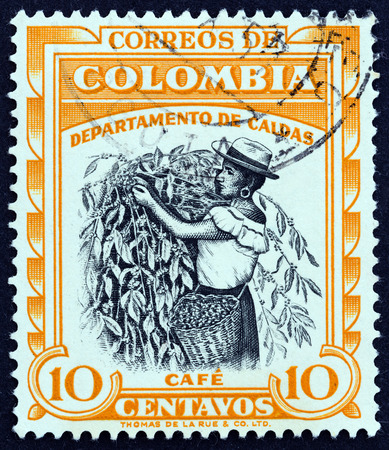 COLOMBIA  CIRCA 1956: A stamp printed in Colombia from the Regional Industries  issue shows Coffee Caldas circa 1956.