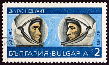 exploitation: BULGARIA  CIRCA 1967: A stamp printed in Bulgaria from the Exploration and Exploitation of Outer Space  issue shows John Glenn and Edward White circa 1967.