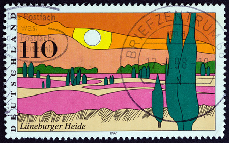 bundespost: GERMANY  CIRCA 1997: A stamp printed in Germany from the Landscapes  issue shows Luneburg Heath circa 1997. Editorial
