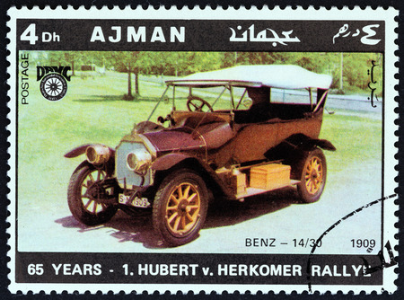 united arab emirate: AJMAN EMIRATE  CIRCA 1970: A stamp printed in United Arab Emirates from the 65th Anniversary of the Hubert V. Herkomer Rallye issue shows Benz 1430 of 1909 circa 1970.