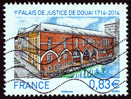 postes: FRANCE  CIRCA 2014: A stamp printed in France shows Courthouse of Douai 17142014 circa 2014. Editorial