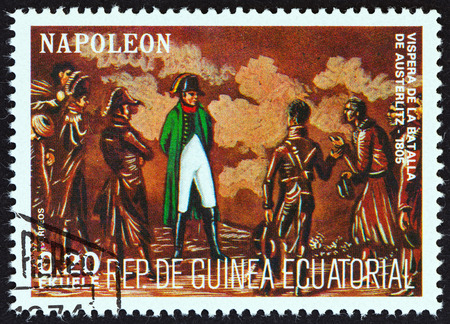 austerlitz: EQUATORIAL GUINEA  CIRCA 1977: A stamp printed in Equatorial Guinea from the Napoleon  issue shows eve of the Battle of Austerlitz 1805 circa 1977.