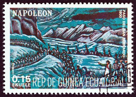 bernard: EQUATORIAL GUINEA  CIRCA 1977: A stamp printed in Equatorial Guinea from the Napoleon  issue shows Crossing the Saint Bernard 1800 circa 1977.