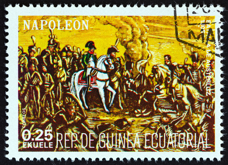 austerlitz: EQUATORIAL GUINEA  CIRCA 1977: A stamp printed in Equatorial Guinea from the Napoleon  issue shows the Battle of Austerlitz 1805 circa 1977.