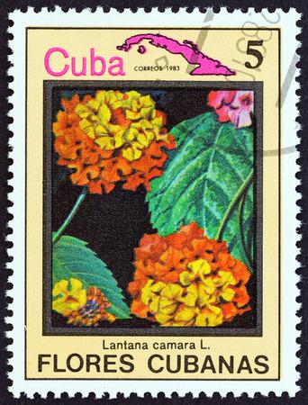 estampilla: CUBA  CIRCA 1983: A stamp printed in Cuba from the Cuban flowers issue shows Lantana camara circa 1983. Editorial