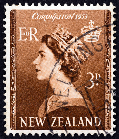 NEW ZEALAND  CIRCA 1953: A stamp printed in New Zealand from the Inauguration of Queen Elizabeth II  issue shows Queen Elizabeth II circa 1953.