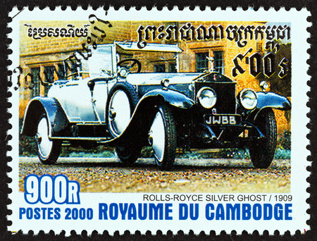 CAMBODIA  CIRCA 2000: A stamp printed in Cambodia from the International Stamp Exhibition Espana 2000 Madrid  Cars  issue shows RollsRoyce Silver Ghost 1909 circa 2000.