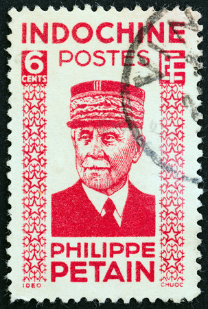indochina: INDOCHINA  CIRCA 1942: A stamp printed in Indochina shows Marshal Petain circa 1942.