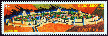 postes: FRANCE  CIRCA 2000: A stamp printed in France shows Carcassonne circa 2000.