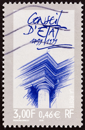 postes: FRANCE  CIRCA 1999: A stamp printed in France issued for the 200th anniversary of the State Council shows column and pediment circa 1999. Editorial