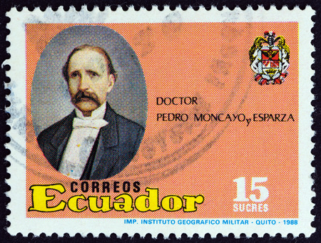 estampilla: ECUADOR  CIRCA 1988: A stamp printed in Ecuador from the 100th anniversary of the death of Dr. Pedro Moncayo y Esparza  issue shows Pedro Moncayo y Esparza 18071888 politician circa 1988. Editorial