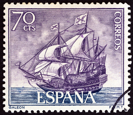 commemoration: SPAIN  CIRCA 1964: A stamp printed in Spain from the Spanish Navy Commemoration. Ships issue shows Galleon circa 1964.