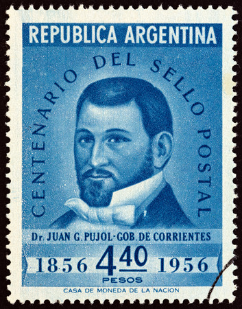 timbre: ARGENTINA  CIRCA 1956: A stamp printed in Argentina issued for the Centenary of 1st Argentine Stamps shows Dr. Juan Gregorio Pujol Governor of the Province of Corrientes circa 1956.