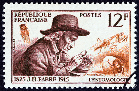 casimir: FRANCE  CIRCA 1956: A stamp printed in France from the French Scientists  issue shows entomologist JeanHenri Fabre circa 1956.