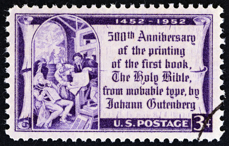 gutenberg: USA  CIRCA 1952: A stamp printed in USA issued for the 500th anniversary of printing of first book from movable type shows Gutenberg and Elector of Mainz after Edward Laning circa 1952. Editorial