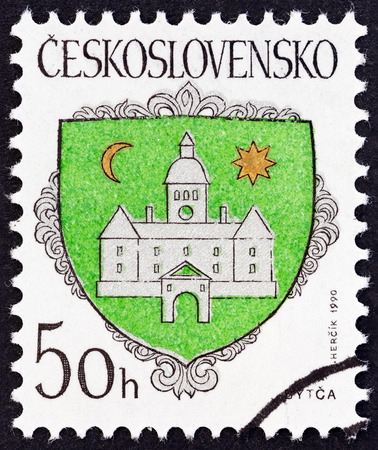 estampilla: CZECHOSLOVAKIA  CIRCA 1990: A stamp printed in Czechoslovakia from the Arms of Czech Towns  issue shows Bytca Coat of Arms circa 1990. Editorial