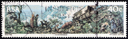 suid: SOUTH AFRICA  CIRCA 1988: A stamp printed in South Africa issued for the 150th anniversary of Great Trek shows crossing the Drakensberg tapestry by W. Coetzer circa 1988.