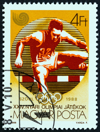 hurdling: HUNGARY  CIRCA 1988: A stamp printed in Hungary from the Olympic Games Seoul  issue shows Hurdling circa 1988.