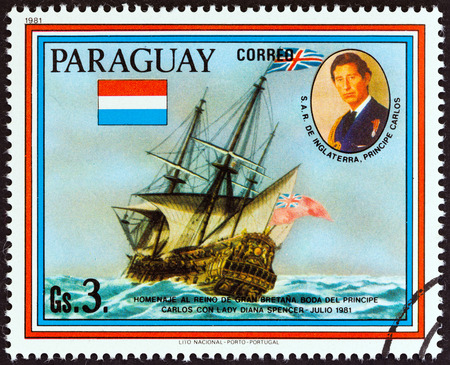 lady diana: PARAGUAY  CIRCA 1981: A stamp printed in Paraguay from the Wedding of Prince Charles and Lady Diana Spencer  Historic Ship Paintings  issue shows HMS Resolution circa 1981. Editorial