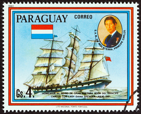 lady diana: PARAGUAY  CIRCA 1981: A stamp printed in Paraguay from the Wedding of Prince Charles and Lady Diana Spencer  Historic Ship Paintings  issue shows Loch Etive circa 1981.
