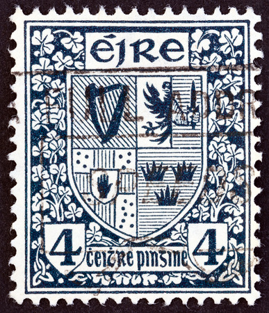 eire: IRELAND  CIRCA 1922: A stamp printed in Ireland shows Arms of the four provinces circa 1922.