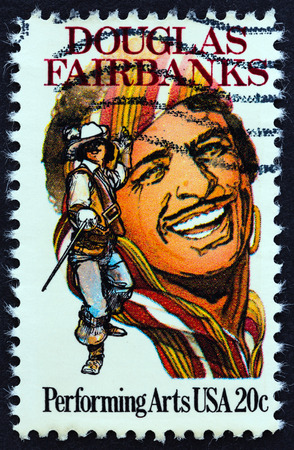 screenwriter: USA - CIRCA 1984: A stamp printed in USA from the Performing Arts  issue shows Douglas Fairbanks, circa 1984.