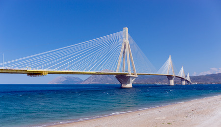 RioAntirrio bridge, the longest cable-stayed suspended deck bridge in the world, Peloponnese, Greece Фото со стока
