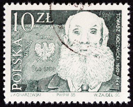 estampilla: POLAND - CIRCA 1985: A stamp printed in Poland from the Leaders of Peasants Movement  issue shows Tomasz Nocznicki, circa 1985.