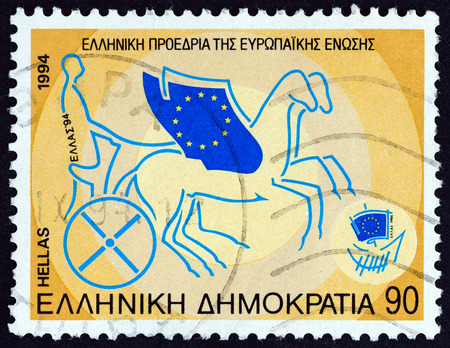 presidency: GREECE - CIRCA 1994: A stamp printed in Greece from the Greek Presidency of European Union  issue shows Greece driving E.U. Chariot, circa 1994.