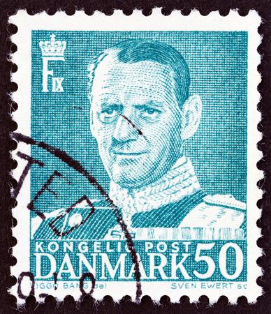 ix portrait: DENMARK - CIRCA 1950: A stamp printed in Denmark shows King Frederick IX, circa 1950.