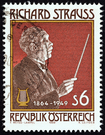 richard: AUSTRIA - CIRCA 1989: A stamp printed in Austria issued for the 125th birth anniversary of Richard Strauss shows Richard Strauss composer, circa 1989. Editorial