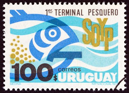 URUGUAY - CIRCA 1973: A stamp printed in Uruguay issued for the Inauguration of 1st Fishery Station of Oceanographic and Fishery Service S.O.Y.P. shows SOYP and Fish, circa 1973.
