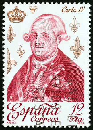 SPAIN - CIRCA 1978: A stamp printed in Spain from the Spanish Kings and Queens of the House of Bourbon  issue shows King Charles IV, circa 1978.