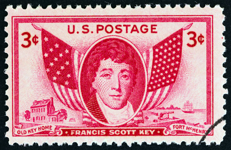 scott: USA - CIRCA 1948: A stamp printed in USA shows Francis Scott Key and Flags, circa 1948.