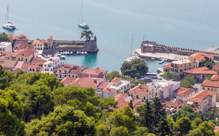 an overview: Overview of Nafpaktos harbor, Greece