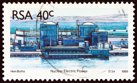 SOUTH AFRICA - CIRCA 1989: A stamp printed in South Africa from the Energy Sources  issue shows Nuclear power station, circa 1989.