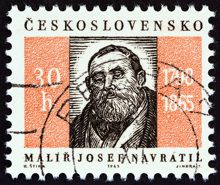 josef: CZECHOSLOVAKIA - CIRCA 1965: A stamp printed in Czechoslovakia from the Anniversaries and Events  issue shows Josef Navratil painter, death centenary, circa 1965. Editorial