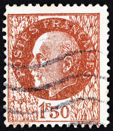 marshal: FRANCE - CIRCA 1941: A stamp printed in France shows Marshal Petain, circa 1941.
