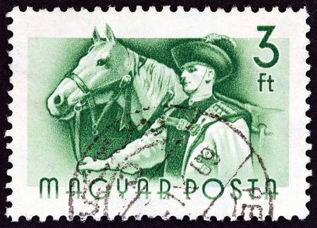estampilla: HUNGARY - CIRCA 1955: A stamp printed in Hungary from the Workers  issue shows Horse and groom, circa 1955.