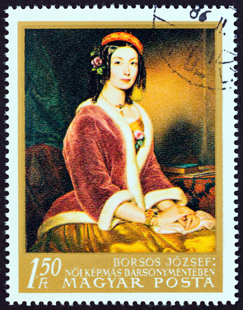 estampilla: HUNGARY - CIRCA 1967: A stamp printed in Hungary from the Paintings in National Gallery, Budapest  issue shows Portrait of a Lady Jozsef Borsos, circa 1967.