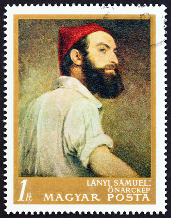 samuel: HUNGARY - CIRCA 1967: A stamp printed in Hungary from the Paintings in National Gallery, Budapest  issue shows Self Portrait Samuel Lanyi, circa 1967.